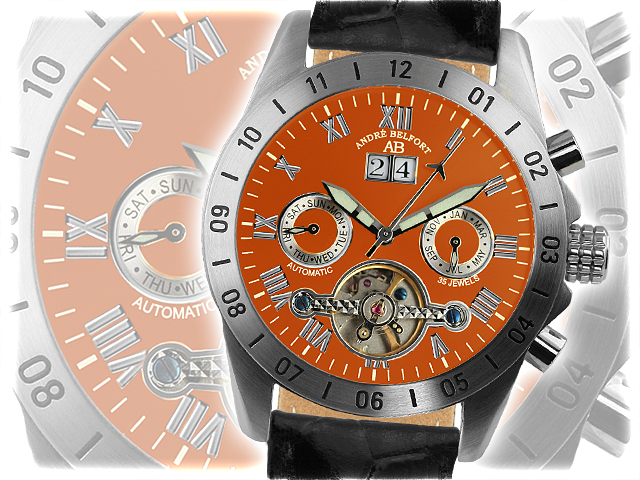 montre andr belfort galactique orange boutique de montres. Black Bedroom Furniture Sets. Home Design Ideas