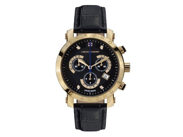 Chrono Diamond Nestor Gold Ip Schwarz Leder Rotatio Uhren Shop