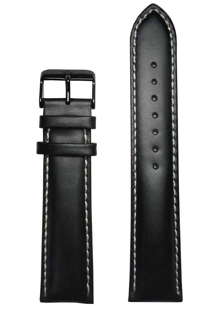 uhren lederarmband 22mm schwarz ip mit wei er naht echt leder uhrenband 140 h ebay. Black Bedroom Furniture Sets. Home Design Ideas